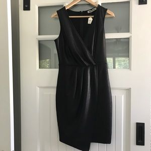 Black Faux Leather Look Bodycon Ruched Dress